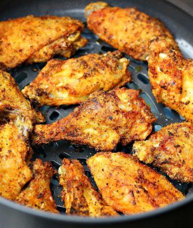 Air fried chicken wings in a Ninja Foodi basket