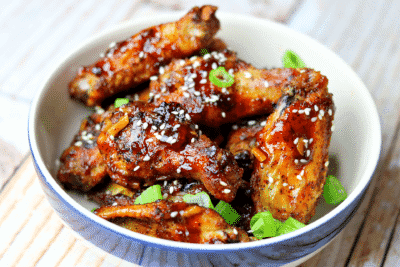 Keto Asian Sticky Wings in a bowl