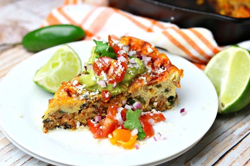 An easy, baked frittata recipe that uses Hatfield Recipe Essentials ground chorizo, cheddar, and sauteed vegetables. It's perfect for a no-fuss Easter brunch. #ad #EasterWithHatfieldHam #simplyHatfield #CollectiveBias #brunch #ketorecipes #lowcarbrecipes #frittata #chorizo