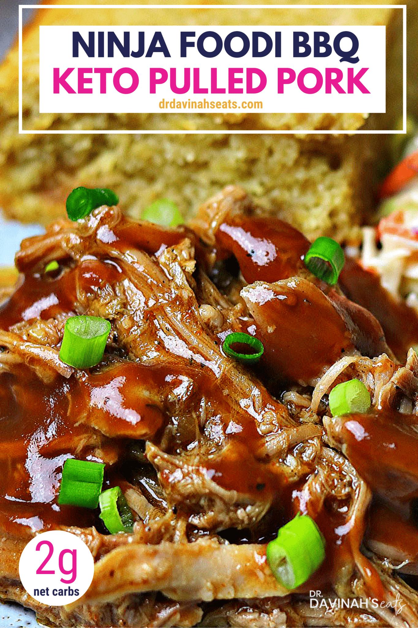 Pinterest image for keto BBQ pulled pork recipe