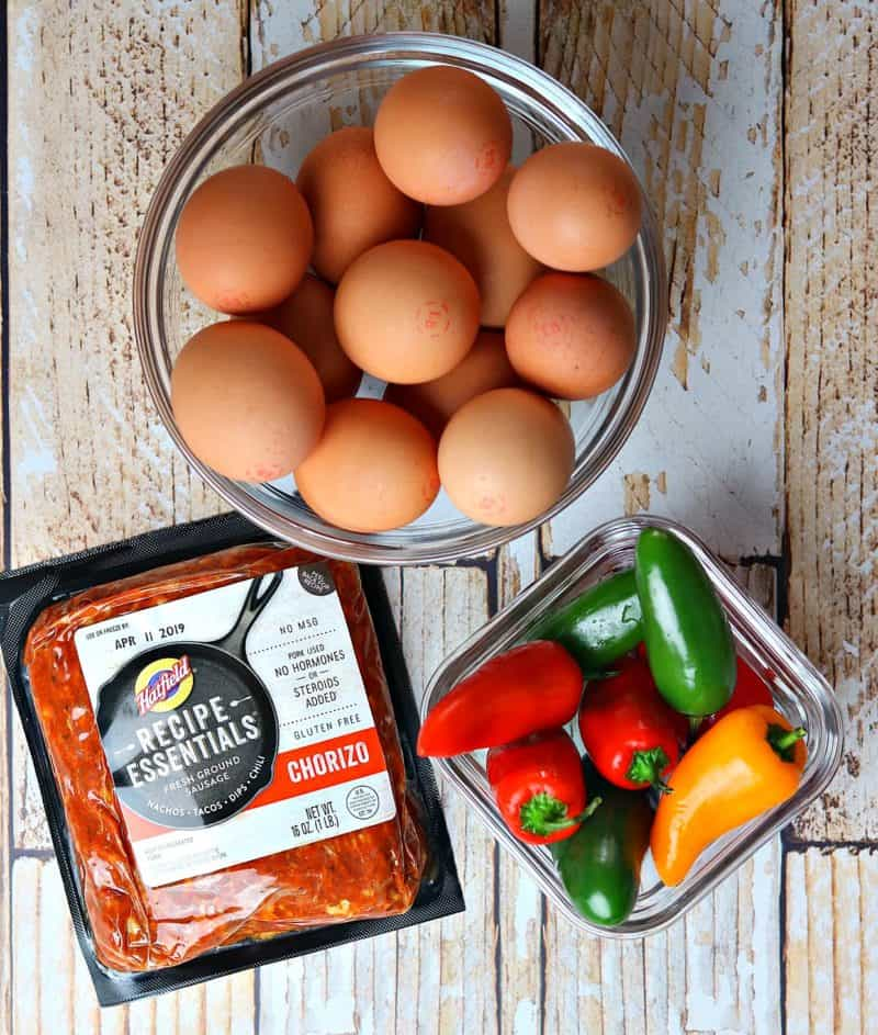 Eggs, chorizo and peppers for this baked frittata recipe
