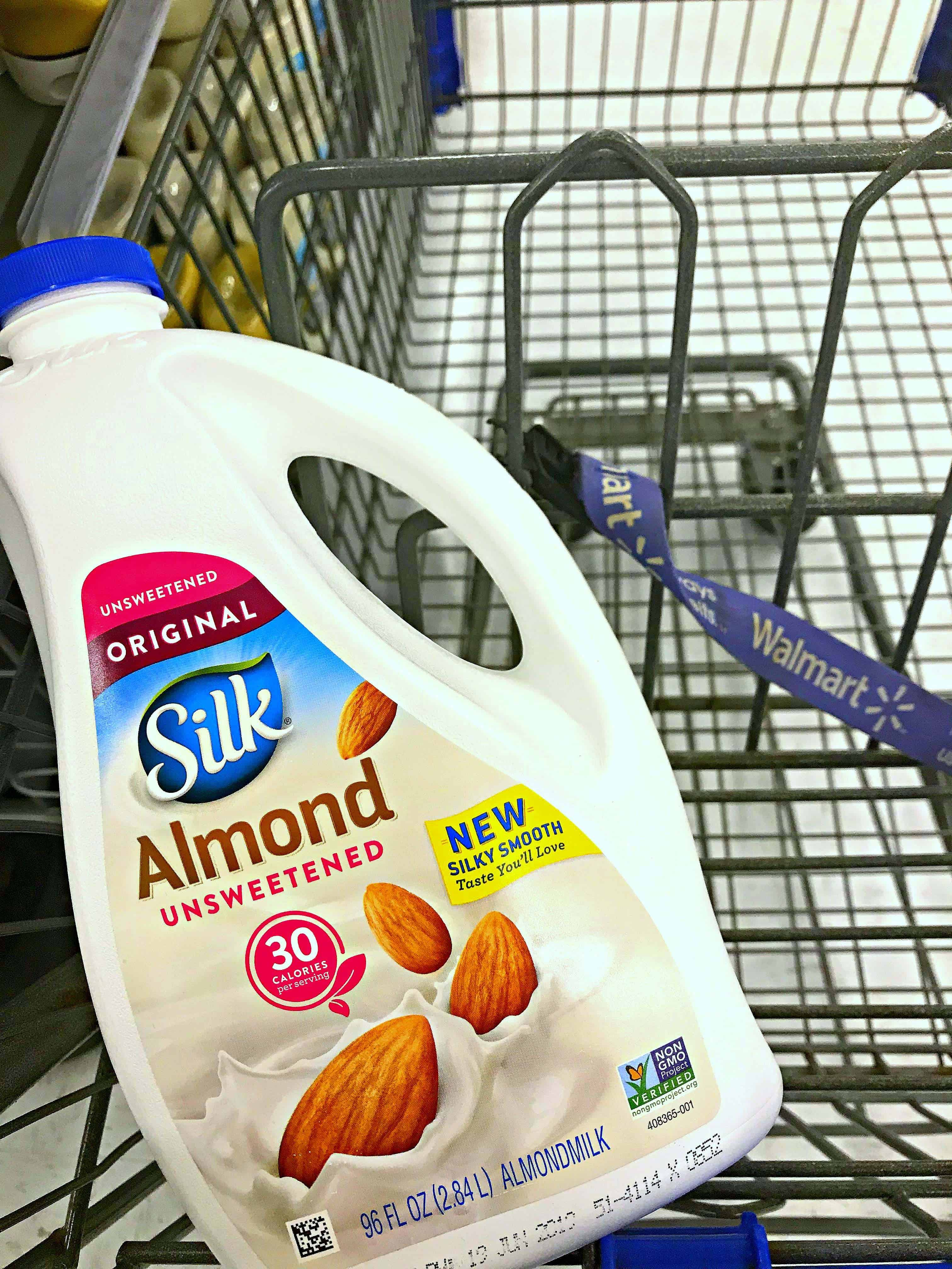 Silk Almondmilk in a cart at Walmart