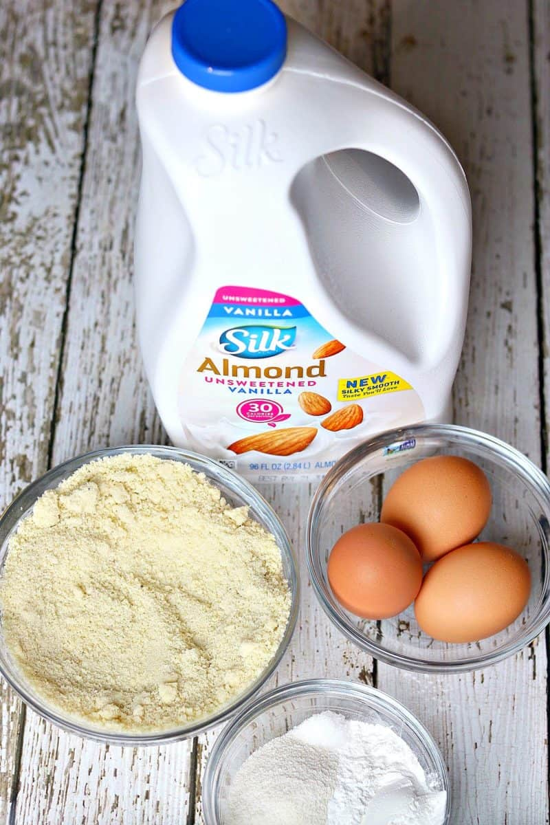 Silk Almondmilk, three eggs, and almond flour