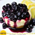 A Pinterest Image for Keto Lemon Blueberry Cheesecake Bites