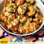 Pinterest image for low carb, grain free, bang bang shrimp recipe
