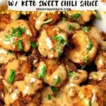Pinterest image for low carb bang bang shrimp recipe