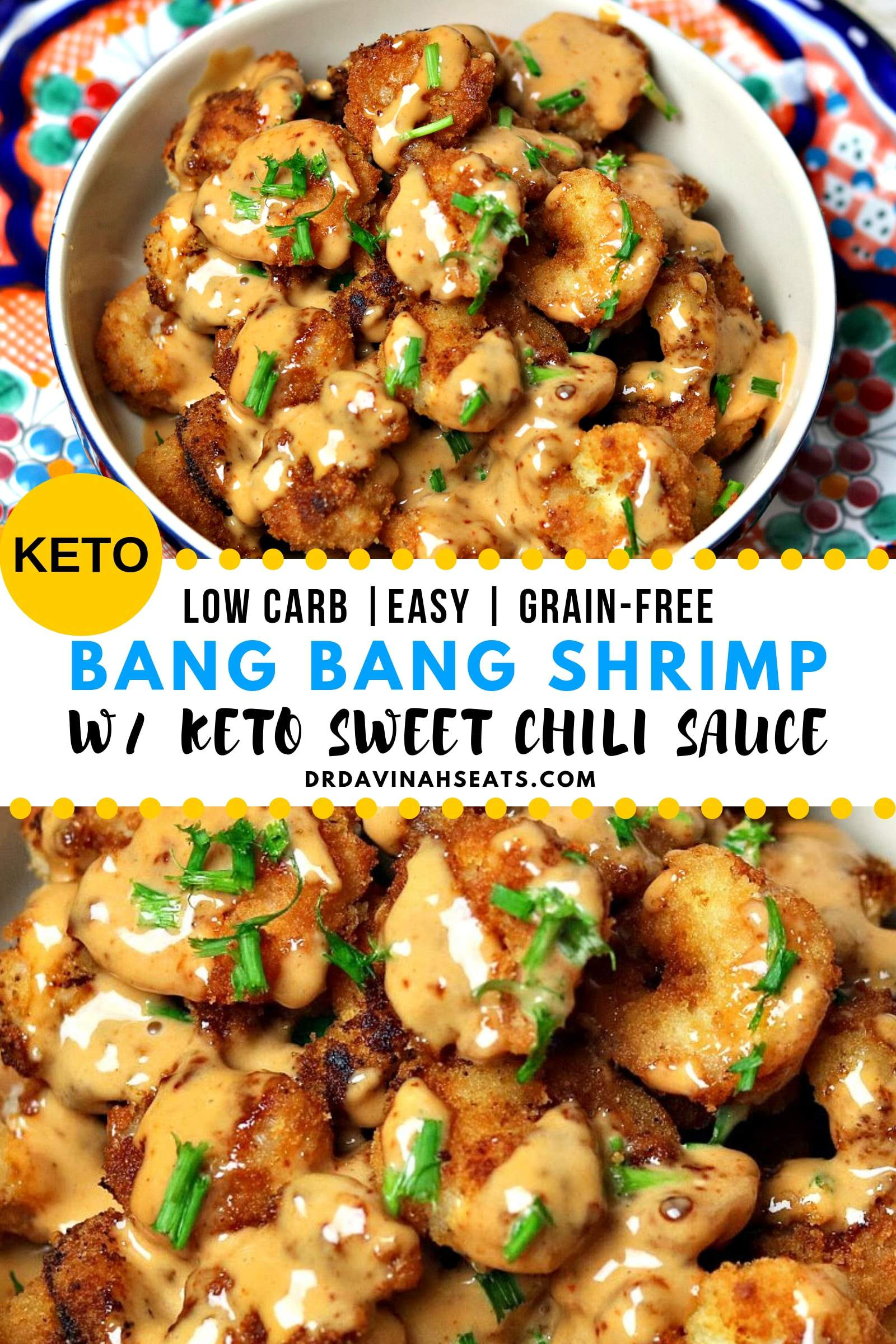 Pinterest image for keto bang bang shrimp