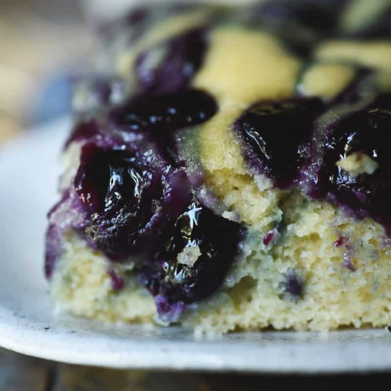 Low Carb Blueberry Coffee cake on a white plate - one of 12 low carb breakfast recipes