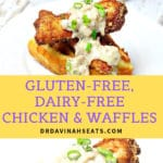 Long Pinterest Image for Gluten-free Dairy-free Chicken & Waffles