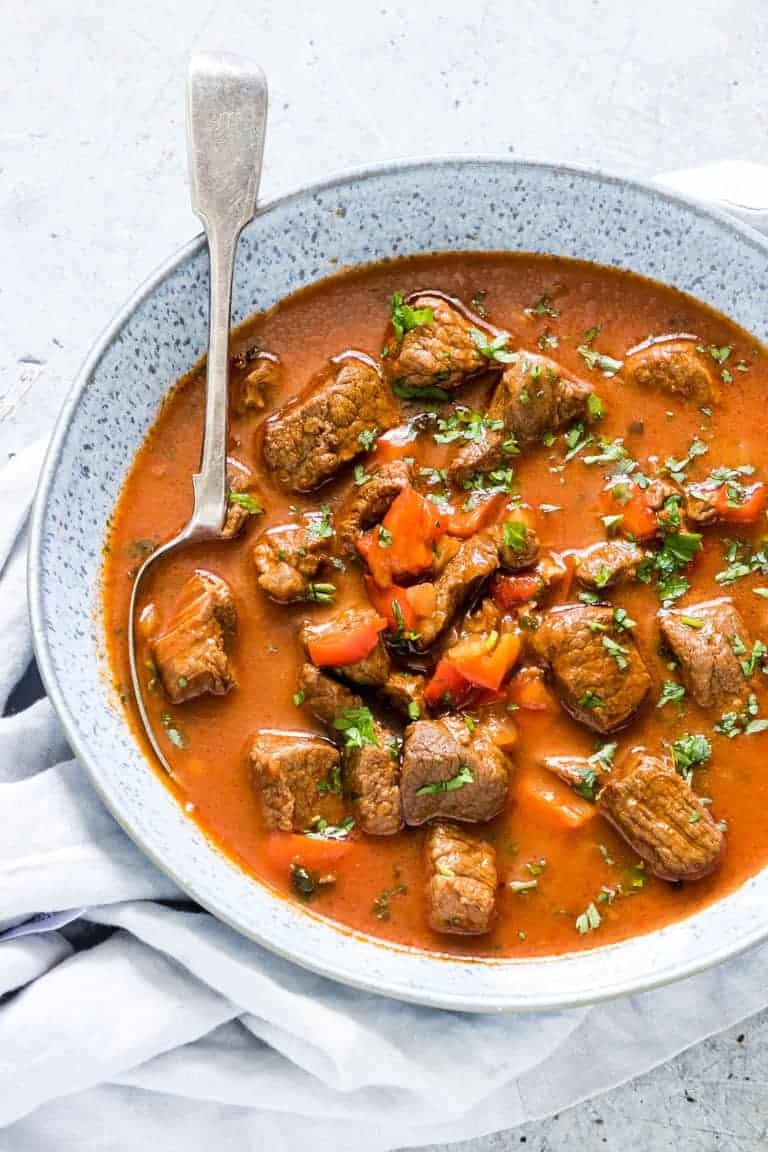 Instant Pot Hungarian Goulash Soup in a bowl