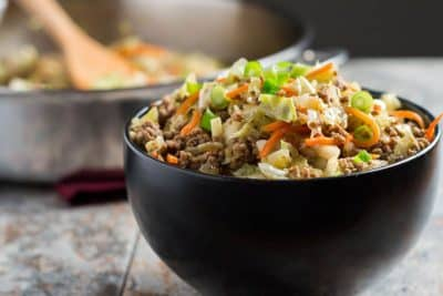 Egg Roll in a Bowl recipe in a black bowl