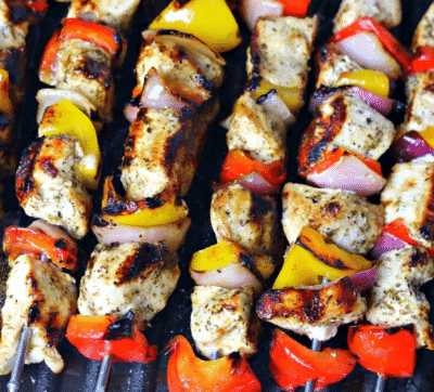 Indoor grilled chicken kabobs on a grill pan