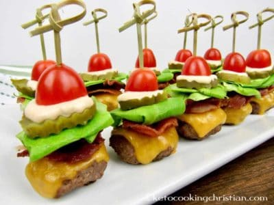 bacon cheeseburger bites on a plate