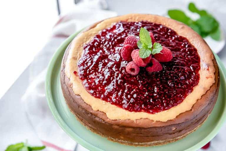 Low Carb Cheesecake with a No Sugar Added Raspberry Jam