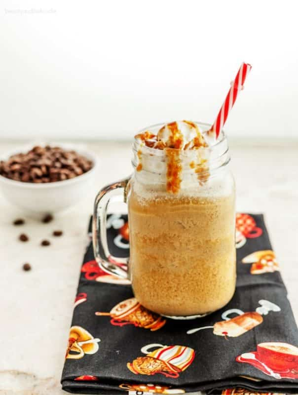 low carb vanilla frappucino in a glass mug