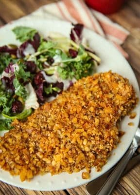 Crusted keto chicken dinner on a plate with a salad