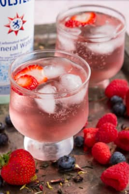 Keto Fizzy Drink with Berries in glass cups