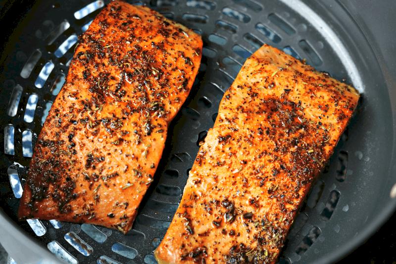 Foodi Air Fryer Salmon in the crisping pan