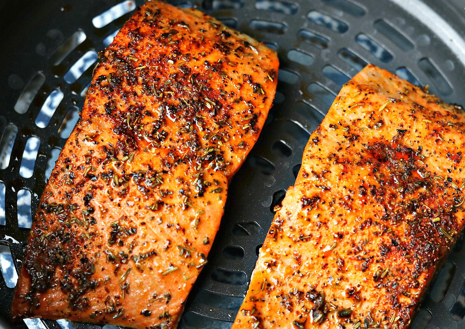 Ninja Foodi salmon in the crisping pan