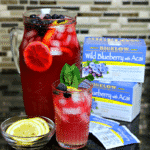 Keto Blueberry Iced Tea Lemonade in a pitcher and a cup