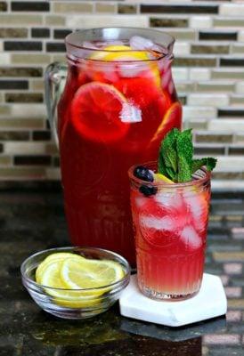 Keto Iced Tea Lemonade in a glass pitcher