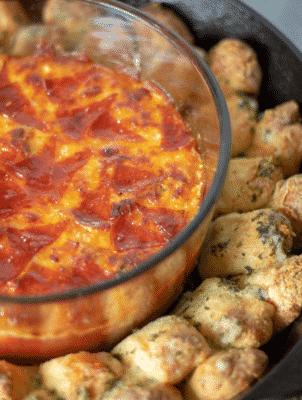 Pizza Dip & Garlic Knots on a platter