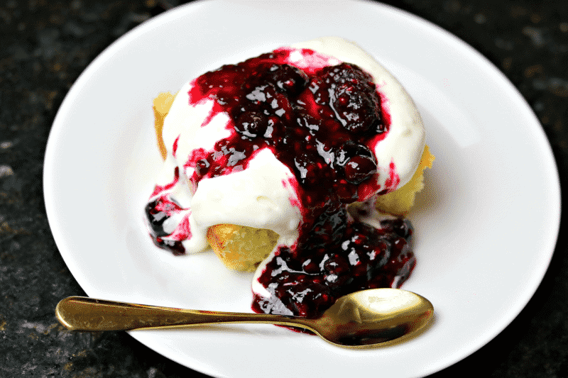 Keto Dessert Idea - Coconut Flour Pound Cake with Berry Topping