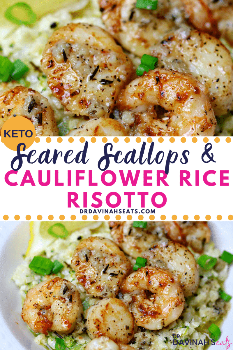 Pinterest Image for Cauliflower Rice Risotto and Seared Scallops
