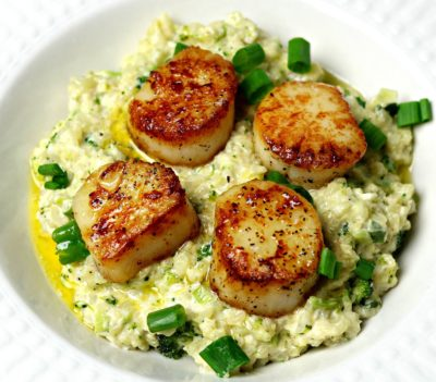 Keto Seared Scallops and Cauliflower Rice Risotto