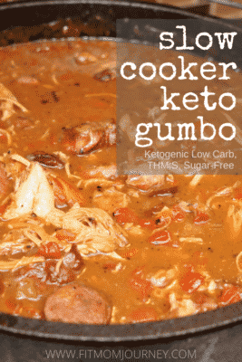 Slow cooker Gumbo in large serving pot.