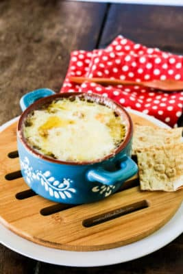 Low Carb French Onion Soup next to low carb bread