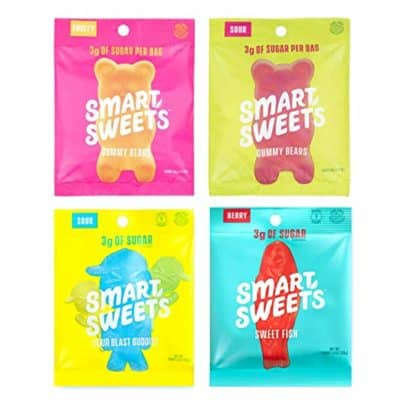 Smart Sweets Variety Pack in 4 flavors - Fruity Gummy Bears, Sour Gummy Bears, Sweet Fish, Sour Blast Buddies