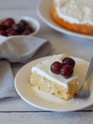 Keto Tres Leches Cake on a white plate
