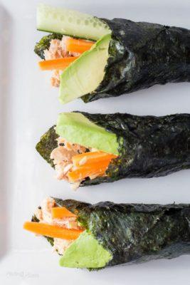 Three paleo sushi wraps on a plate