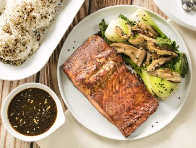 Low carb salmon on a plate with bok Choy