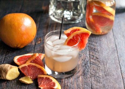 Grapefruit low carb cocktail in a glass