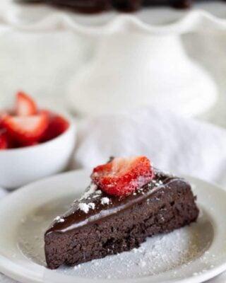 Keto Flourless Chocolate Cake on a white plate