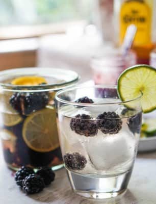 Blackberry Lime infused tequila drink in a glass