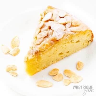 Keto almond flour cake on a white plate