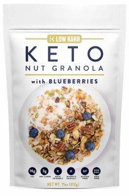Keto Nut Granola w/ Blueberries that can be used as a low-carb cereal