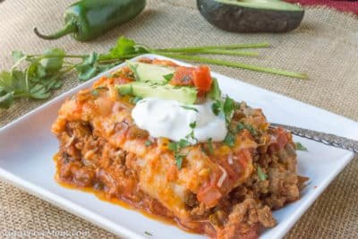Low Carb Mexican Lasagna on White Plate