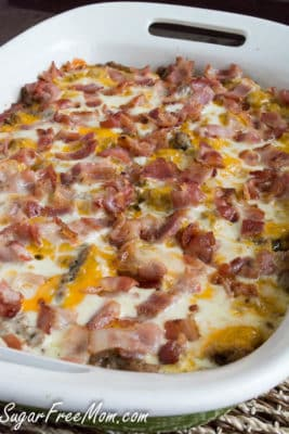 A casserole dish filled with Bacon Cheeseburger Casserole straight from the oven