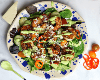 Mexican Whole30 Shrimp Salad with Avocado Lime Dressing