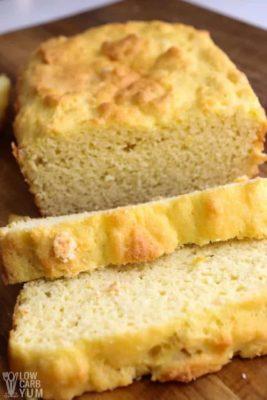 Sliced Coconut Flour Bread on a board