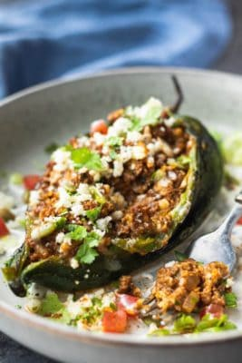 Stuffed Poblano Pepper in white bowl