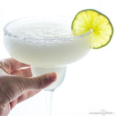 Skinny Margarita in glass garnished with lime slice