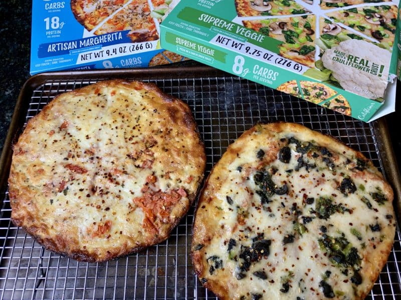 Califlour Foods Frozen Pizza on a sheet pan