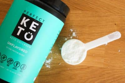 Unflavored Perfect Keto Collagen in a scoop