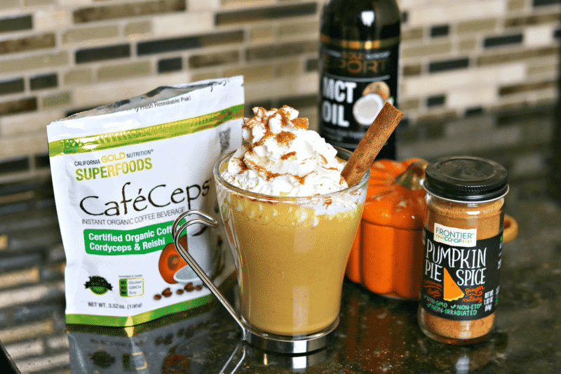 Keto Pumpkin Spice Latte with Ingredients