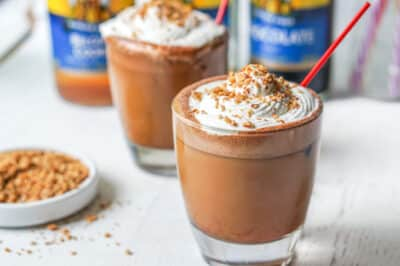 Keto S'mores iced bulletproof coffee in a glass cup